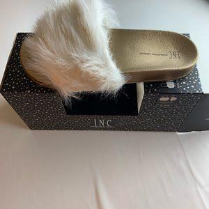 INC faux fur slides